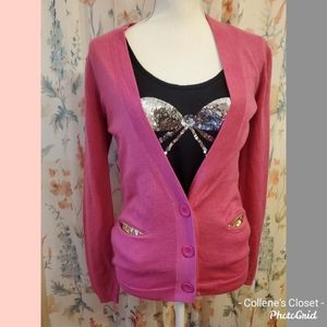 LOFT Hot Pink Gold Sequin Cardigan Small